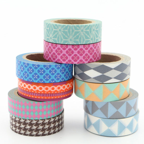 Coloring Narrow Washi Paper Tape , Removable Decorative Tape Fit Artwork