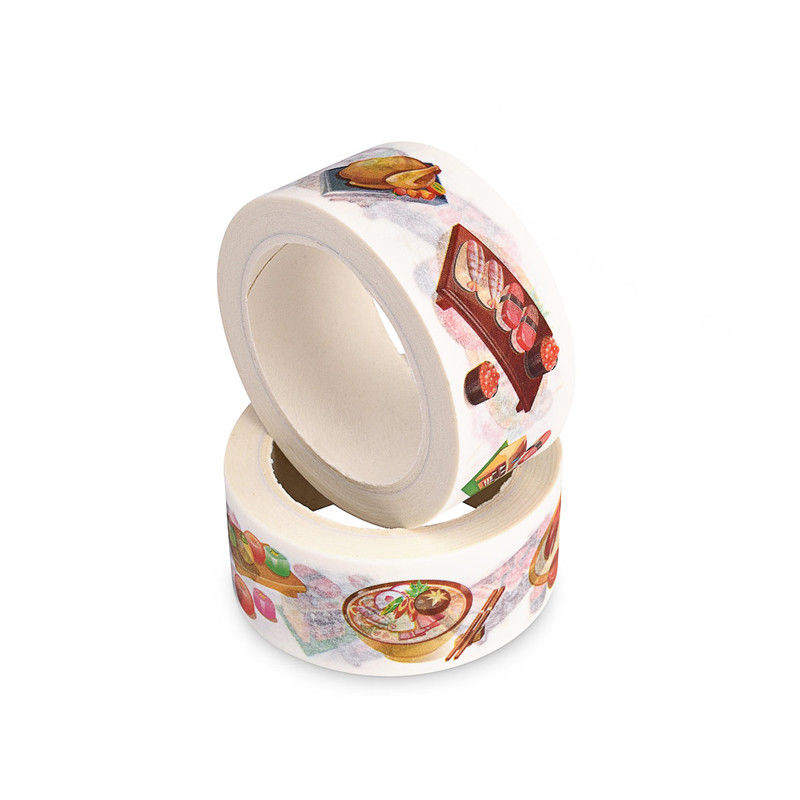 Wide White Washi Tape / Masking Tape Colorful Patterns Coated Acrylic Adhesive