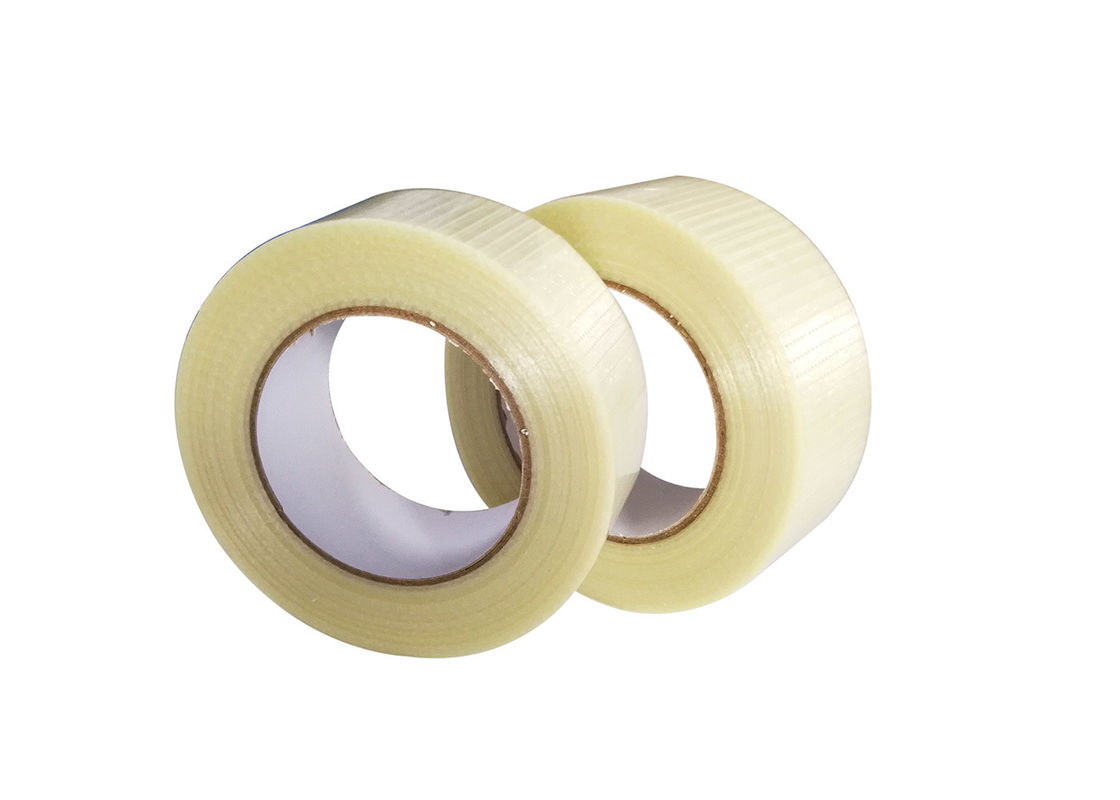 No Residue Transparent Crosslink Mesh Reinforced Filament Tape For  Carton Sealing