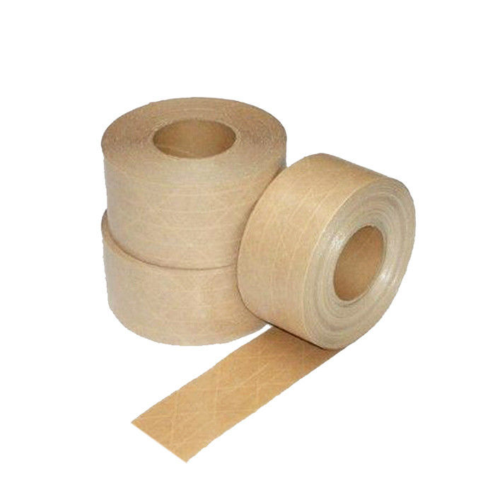 Brown Color Heavy Duty Reinforced Kraft Paper Adhesive Tape For Packing